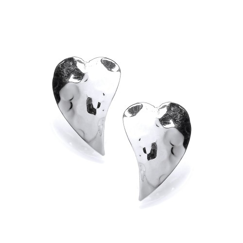 Carol Anne Silver Hammered Curved Heart Studs