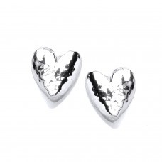 Carol Anne Silver Hammerd Organic Rounded Heart Studs