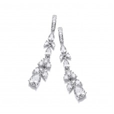 Carol Anne Silver CZ Set Floral Victorian Style Drops