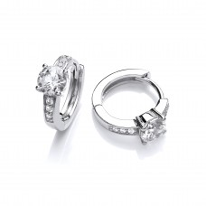 Carol Anne Silver Four Claw Round CZ with Channel Set Huggie