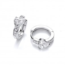 Carol Anne Silver CZ Heart With Channel Set Huggie
