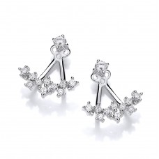 Carol Anne Silver CZ Galaxy Jacket Earrings