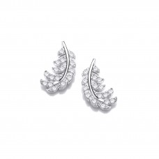 Carol Anne Silver CZ Feather Studs