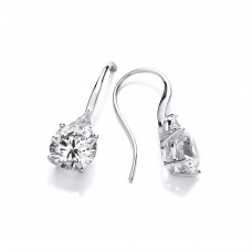 Carol Anne Silver Silver Hook Drops with Tear Drop CZ