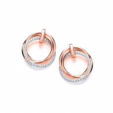 Carol Anne Silver Rose Gold Plate CZ Double Hoop Studs