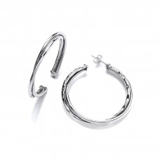 Carol Anne Silver Large Hammered and Polished Twisted Hoops