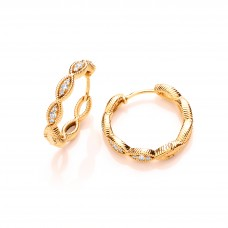 Carol Anne Silver CZ Gold Vermeil Lucky Eye Hoops