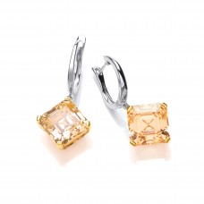 Carol Anne Silver and Gold Plate Citrine CZ Square Claw Set Drops