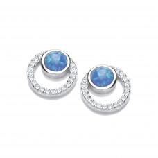 Carol Anne Silver CZ and Opalite Halo Studs
