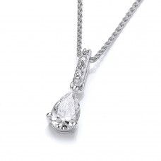 Carol Anne Silver Teardrop CZ Pendant with long CZ Bail