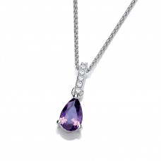Carol Anne Silver Teardrop Amethyst CZ Pendant with long CZ Bail