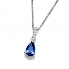Carol Anne Silver Teardrop Sapphire CZ Pendant with long CZ Bail