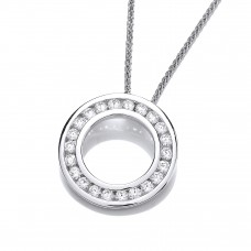 Carol Anne Silver Channel Set CZ Hoop Pendant