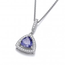 Carol Anne Silver Blue Triangular Cz Pendant with CZ Surround