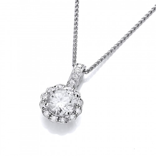 Carol Anne Silver Round Four Claw CZ Floral Cluster Pendant