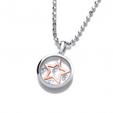 Carol Anne Celestial Mini Silver and Rose Gold CZ Shooting Star Pendant