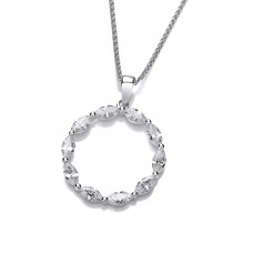 Carol Anne Silver and CZ Marquise Circle Pendant