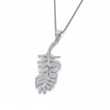 Carol Anne Silver Feather CZ Pendant