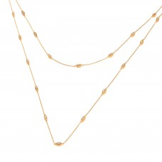 Carol Anne Silver CZ Single Strand Gold Vermeil Necklace, 42 inches