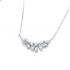 Carol Anne Silver CZ Double Iris Necklace