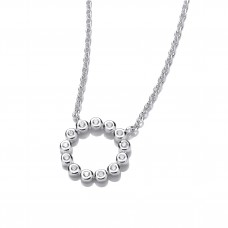 Carol Anne Silver CZ Small Circle Necklace, 18 inches