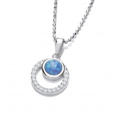 Carol Anne Silver CZ Opaligue Circle within a circle Pendant