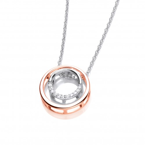 Carol Anne Silver and Rose Gold Plate Double Circle CZ Necklace