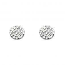 Dew Silver CZ Disc Stud Earrings