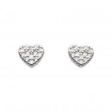Dew Silver CZ Small Heart Stud Earrings