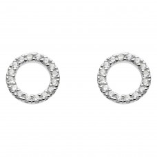 Dew Silver CZ Open Circle Stud Earrings