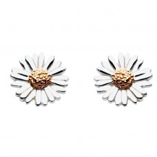 Dew Silver Daisy Gold Plate Stud Earrings