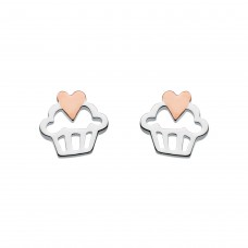 Dew Silver Cupcake Rose Gold Plate Stud Earrings