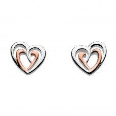 Dew Silver Double Heart Rose Gold plate Stud Earrings