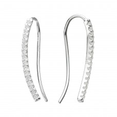 Dew Silver CZ Curved Bar Ear Climbers