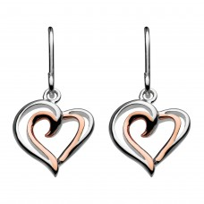 Dew Silver Heart Strands Rose Gold Plate Drop Earrings