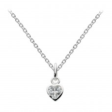 Dew Silver Dinky Small CZ Heart Pendant