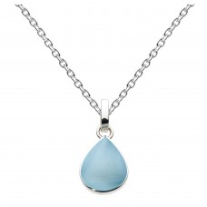 Dew Silver Pear Shape Blue Mother of Pearl Pendant