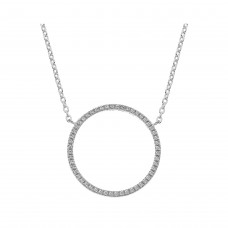 Dew Silver Large Cz Circle Necklace