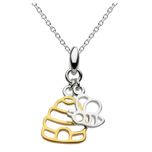 Dew Silver Bumblebee Gold Plate Hive Pendant