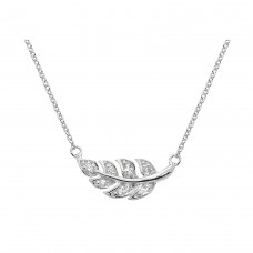 Dew Silver Pave Leaf Necklace