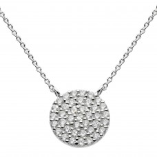 Dew Silver CZ Large Disc Necklace