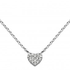 Dew Silver CZ Small Heart Necklace