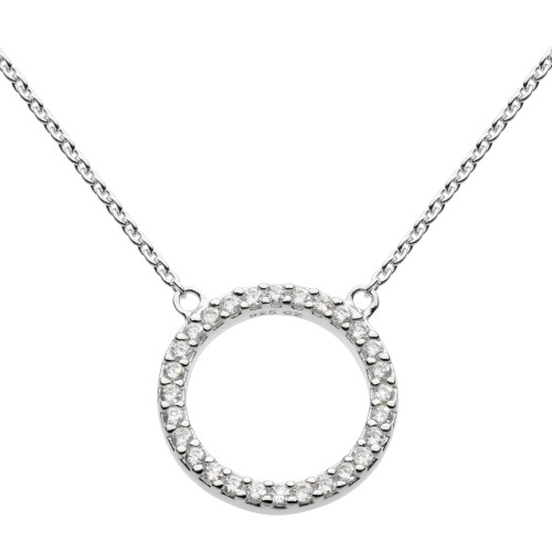 Dew Silver CZ Open Circle Necklace