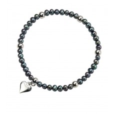 Gecko solid silver heart bracelet with black pearl and silver beads