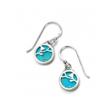 Gecko round turquoise drops with silver flower pattern - NHS10