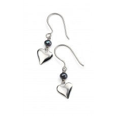 Gecko solid silver heart drops with black pearl