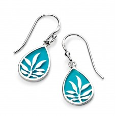 Gecko silver teardrop blue enamel drops with leaf detail