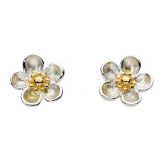 Kit Heath Silver Blossom Wood Rose Studs Earrings