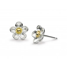 Kit Heath Silver Blossom Wood Rose Large Studs Earrings