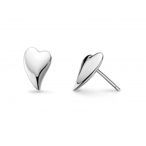 Kit Heath Silver Desire Lust Heart Stud Earrings